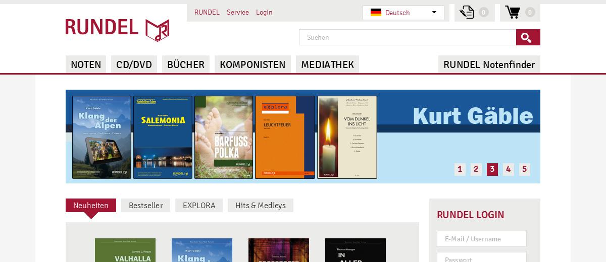 Projekte - Rundel Musikverlag - Webseite - Wirth & Horn Informationssysteme