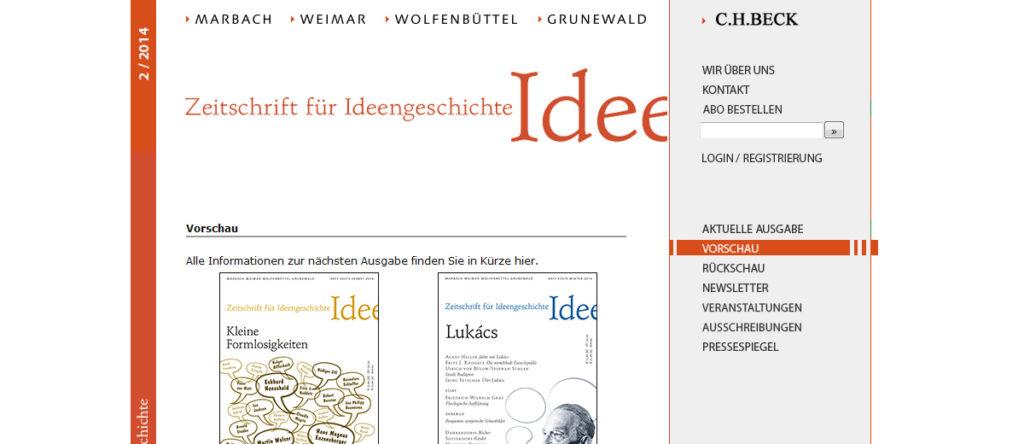Projekte - Zeitschrift für Ideengeschichte - ZIG - Beck Verlag - Wirth & Horn Informationssysteme