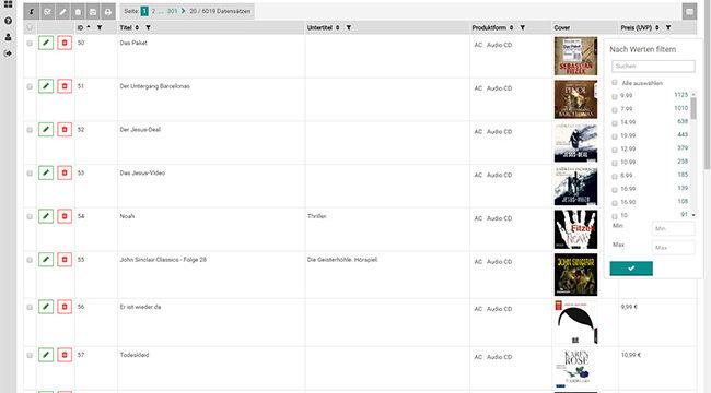 PIM.RED - Screenshot - Filtern - Wirth & Horn Informationssysteme