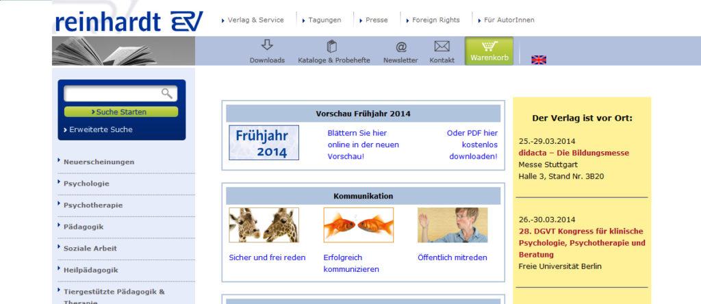 Projekte - Ernst Reinhardt Verlag - Webshop Internetpräsenz - Wirth & Horn Informationssysteme