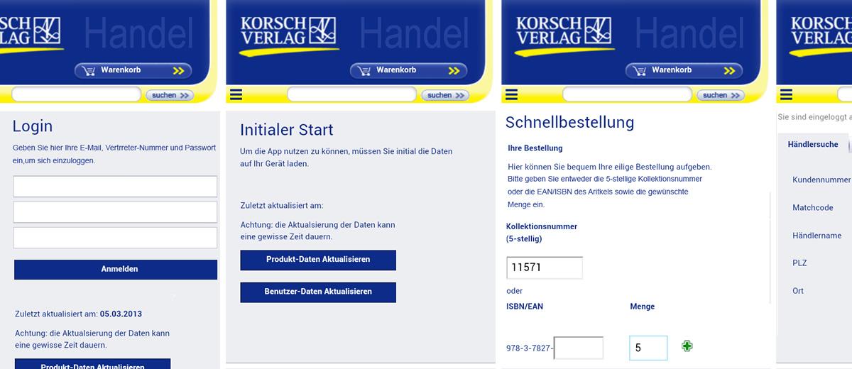 Projekte - Korsch Verlag - App (Android) für Vertreter - Wirth & Horn Informationssysteme