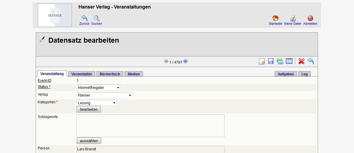 Projekte - Hanser Verlag - Veranstaltungsdatenbank - Wirth & Horn Informationssysteme