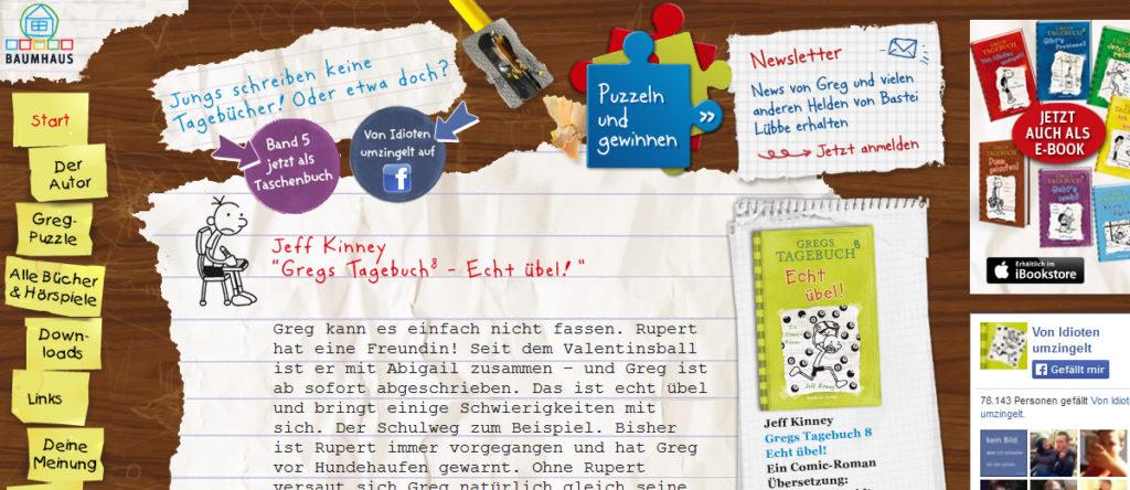 Projekte - Gregs Tagebuch - Microsite Bastei Lübbe - Wirth & Horn Informationssysteme
