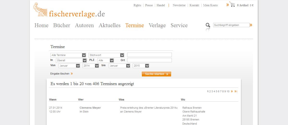Projekte - Fischer Verlag Veranstaltungsdatenbank - Wirth & Horn Informationssysteme