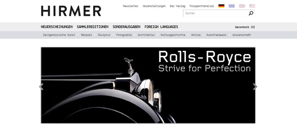 Projekte - Hirmer Verlag - Webshop und Internetpräsenz - Wirth & Horn Informationssysteme