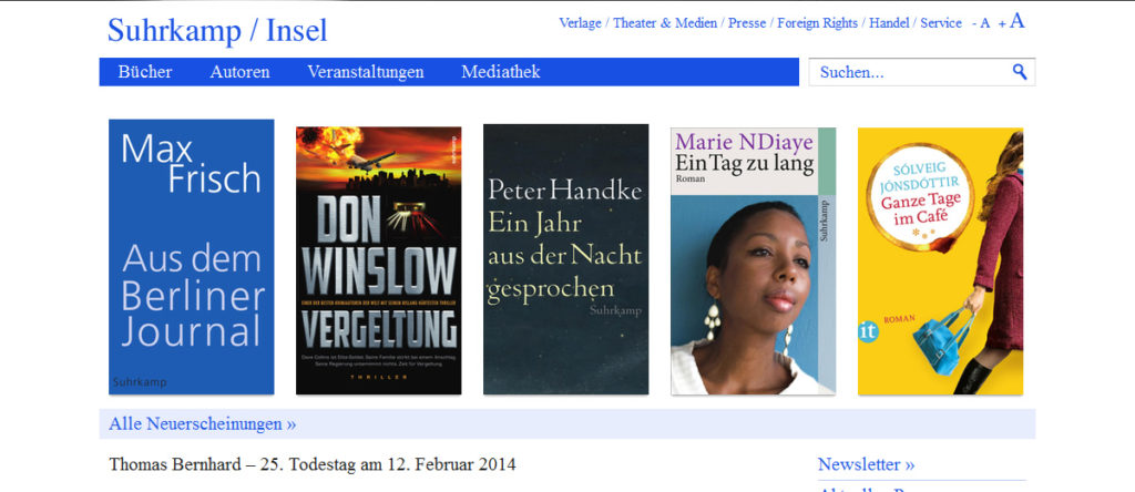 Projekte - Suhrkamp Insel Verlag - Webshop Internetpräsenz - Wirth & Horn Informationssysteme