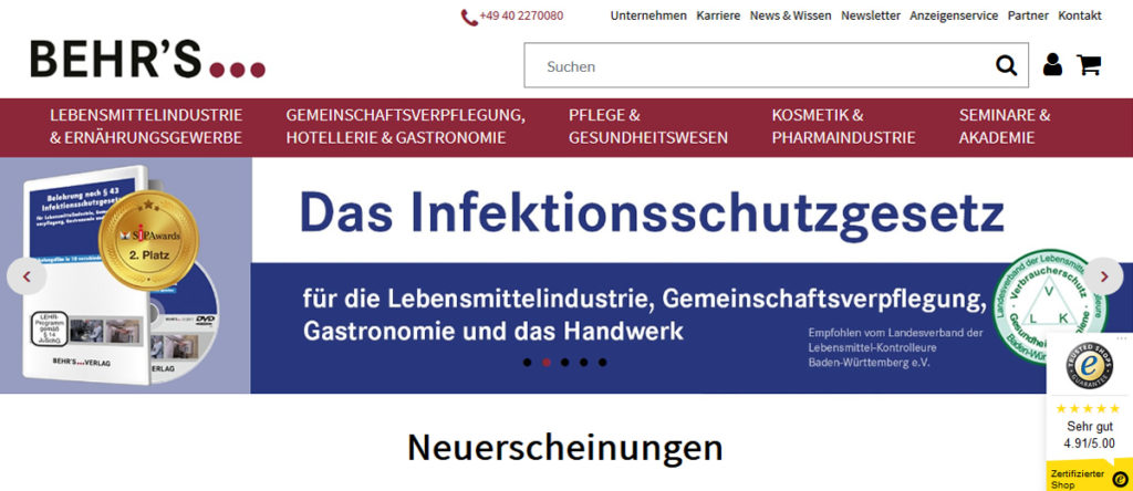 Behrs Verlag Relaunch Webshop