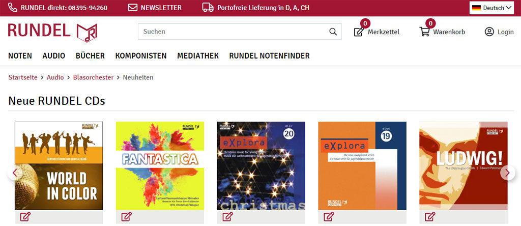 Musikverlag Rundel Relaunch Webshop